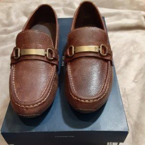 Cole Haan Brown Leather Men Slip On Loafers